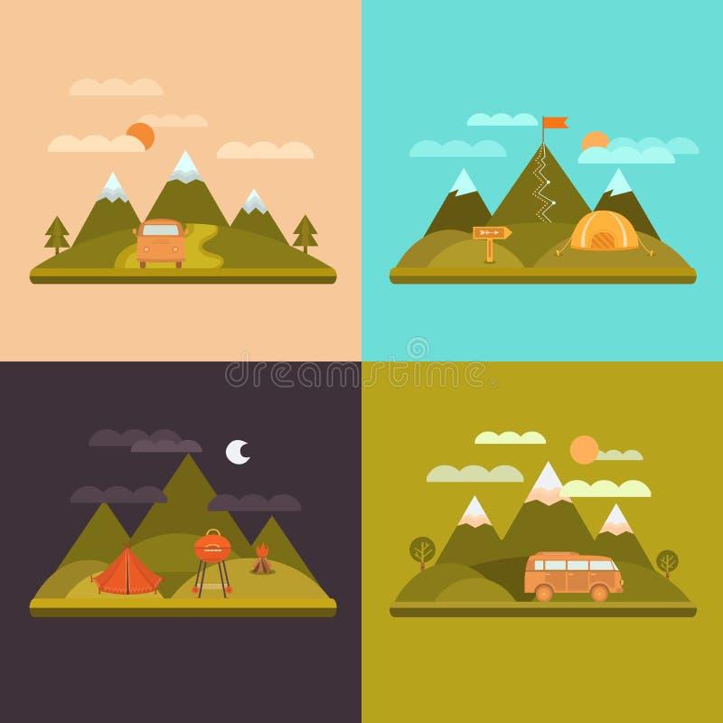 Het kamperen de achtergrond van het ontwerpconcept stock illustratie