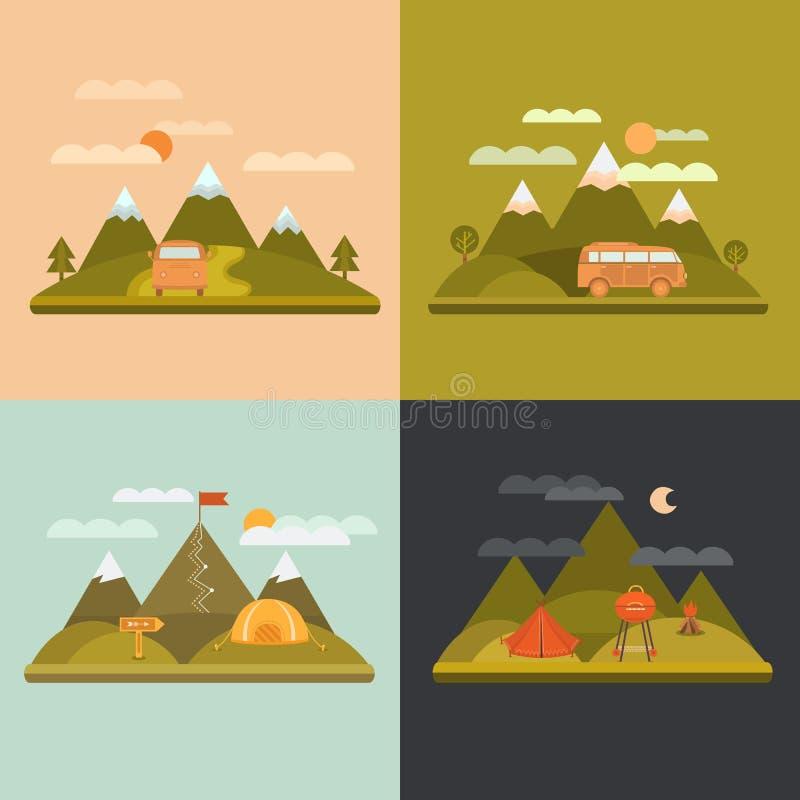 Het kamperen de achtergrond van het ontwerpconcept vector illustratie