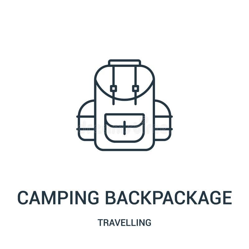 het kamperen de vector van het backpackagepictogram van reizende inzameling Dunne lijn het kamperen het pictogram vectorillustrat royalty-vrije illustratie