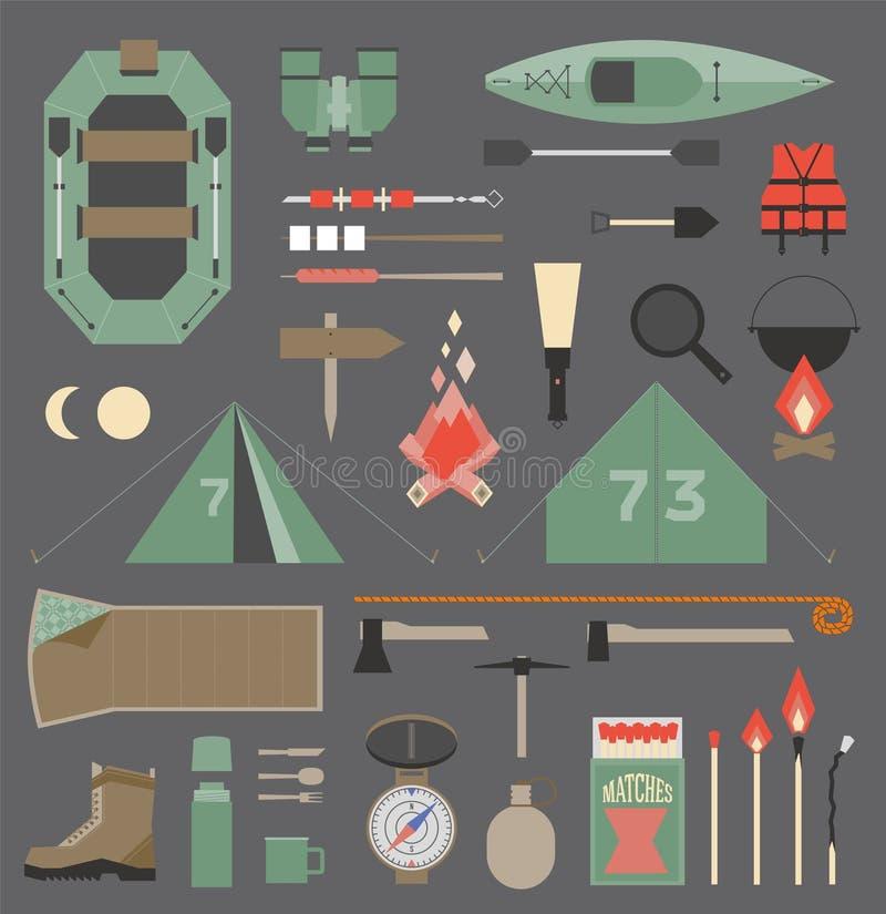 Het kamperen elementen vector illustratie