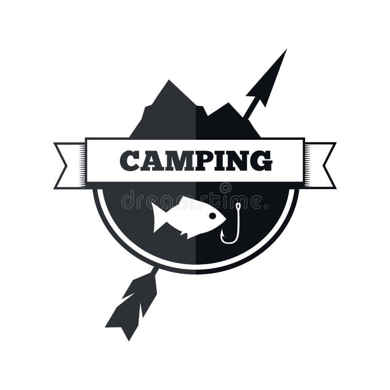 Het kamperen embleemontwerp vector illustratie
