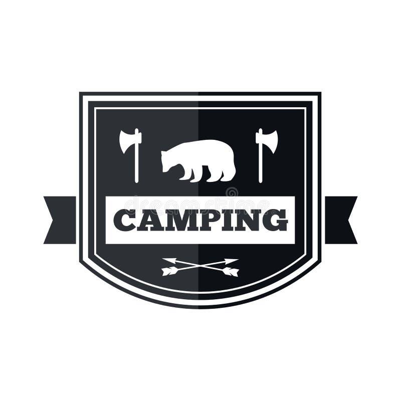 Het kamperen embleemontwerp stock illustratie