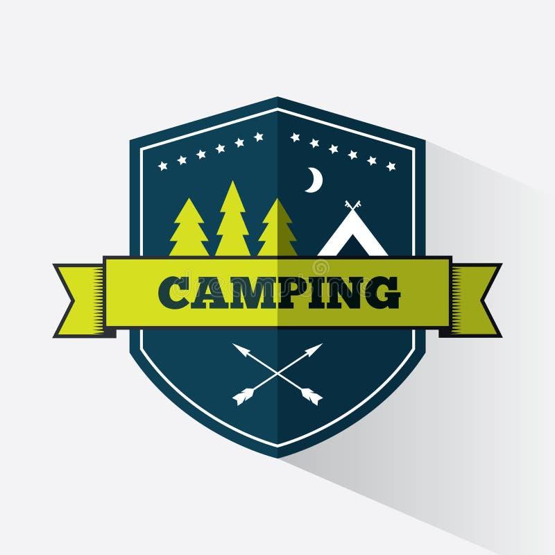 Het kamperen embleemontwerp royalty-vrije illustratie