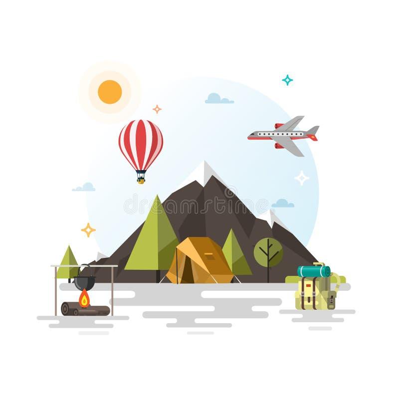 Het kamperen en Bergkamp stock illustratie
