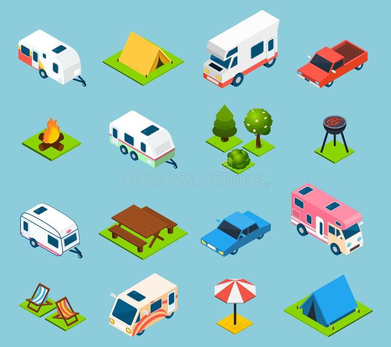 Het kamperen en Reis Isometrische Geplaatste Pictogrammen vector illustratie