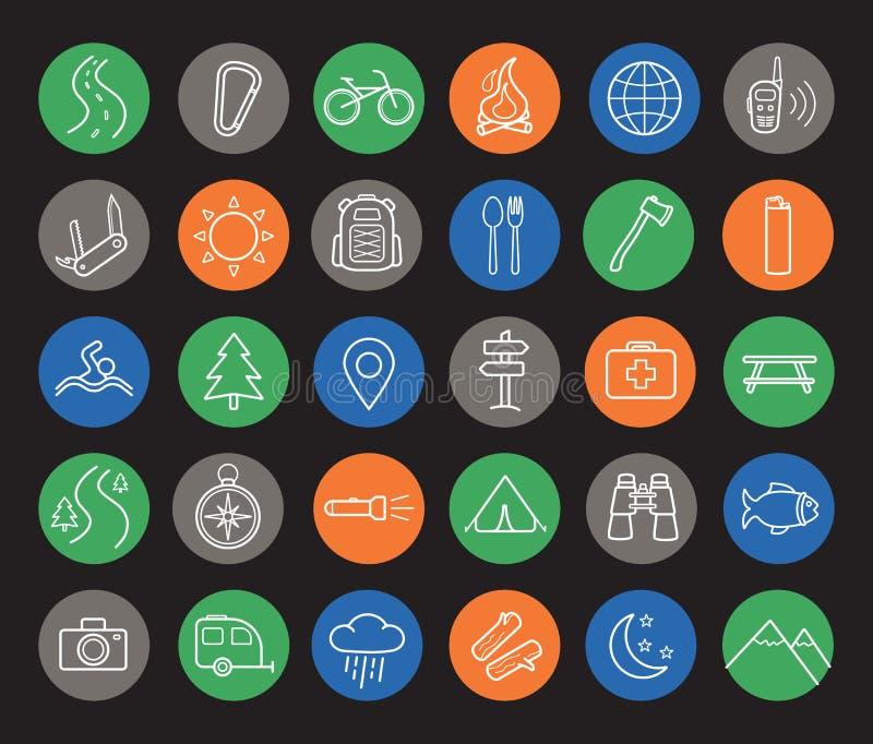 Het kamperen en reis lineaire geplaatste pictogrammen stock illustratie