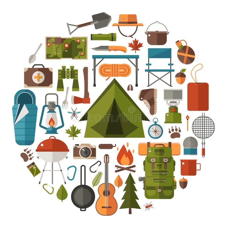 Het kamperen en Wandelings Vectorpictogrammen vector illustratie
