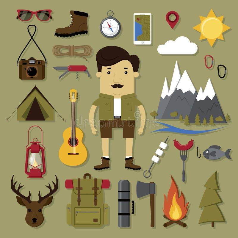 Het kamperen en wandelingsreeks stock illustratie