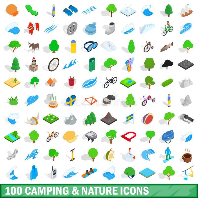 100 het kamperen geplaatste aardpictogrammen, isometrische 3d stijl stock illustratie