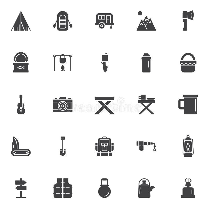 Het kamperen geplaatste elementen vectorpictogrammen vector illustratie