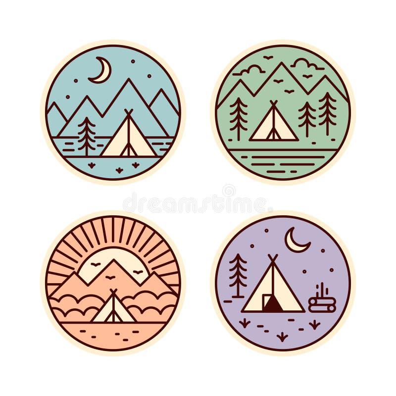 Het kamperen geplaatste pictogrammen vector illustratie