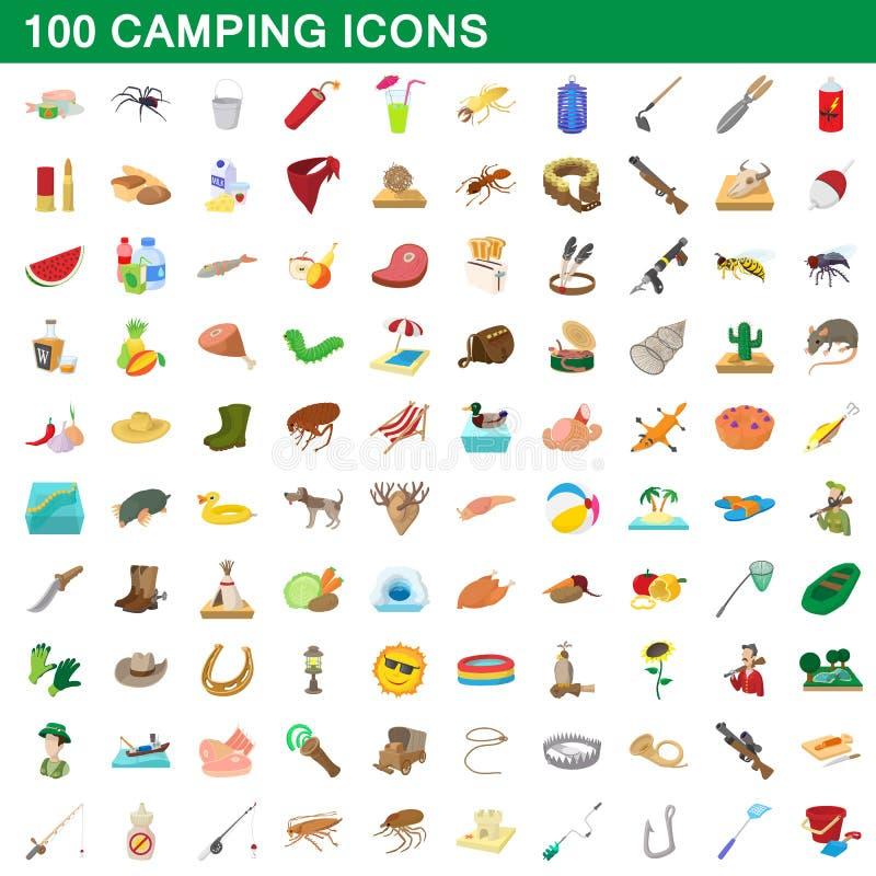 100 het kamperen geplaatste pictogrammen, beeldverhaalstijl vector illustratie