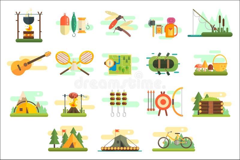 Het kamperen geplaatste pictogrammen, wandeling en vistuigen, reizende en ontspannende elementen, de zomer vectorillustraties op  royalty-vrije illustratie