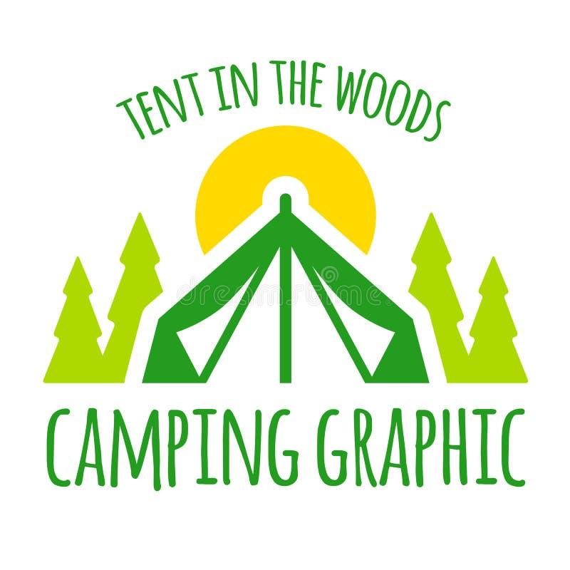 Het kamperen grafische tent royalty-vrije illustratie