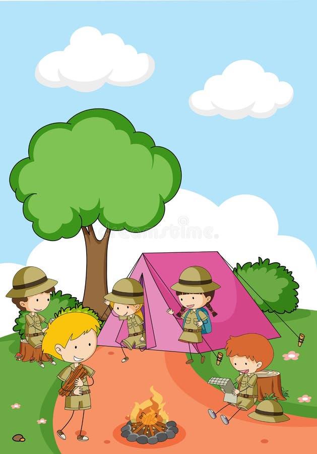 Het kamperen jonge geitjes in aard stock illustratie
