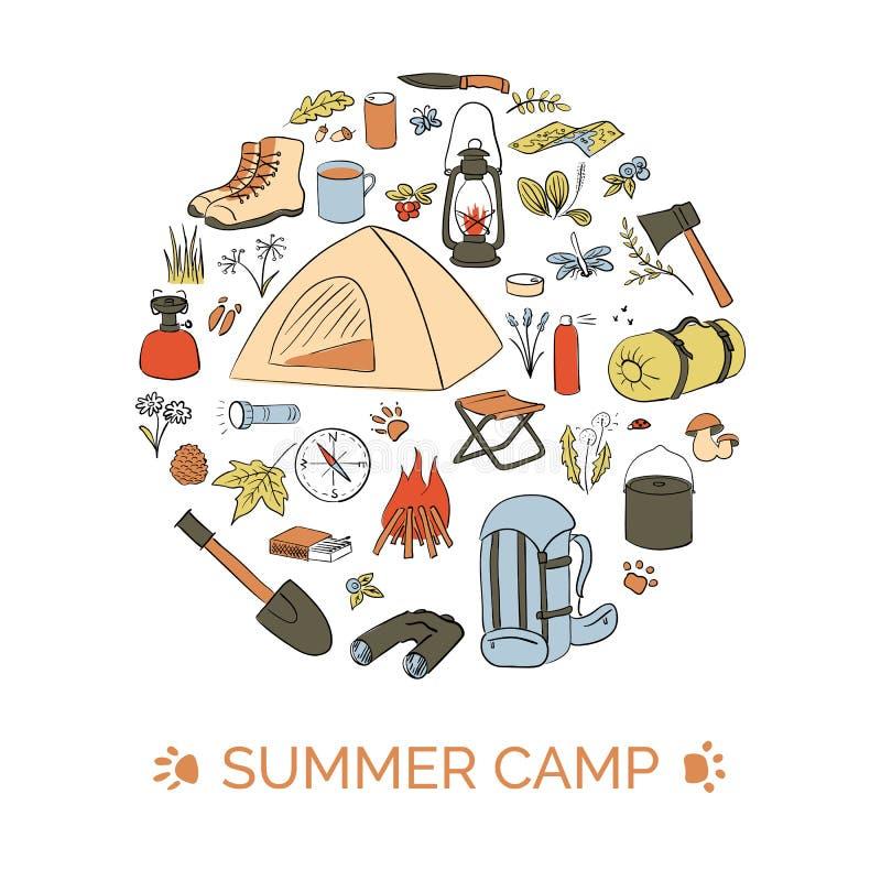 Het kamperen kaartmalplaatje Bellenvorm De zomerkamp De wandelingspictogrammen kleurden de reeks van de schetsstijl Centraal rond vector illustratie