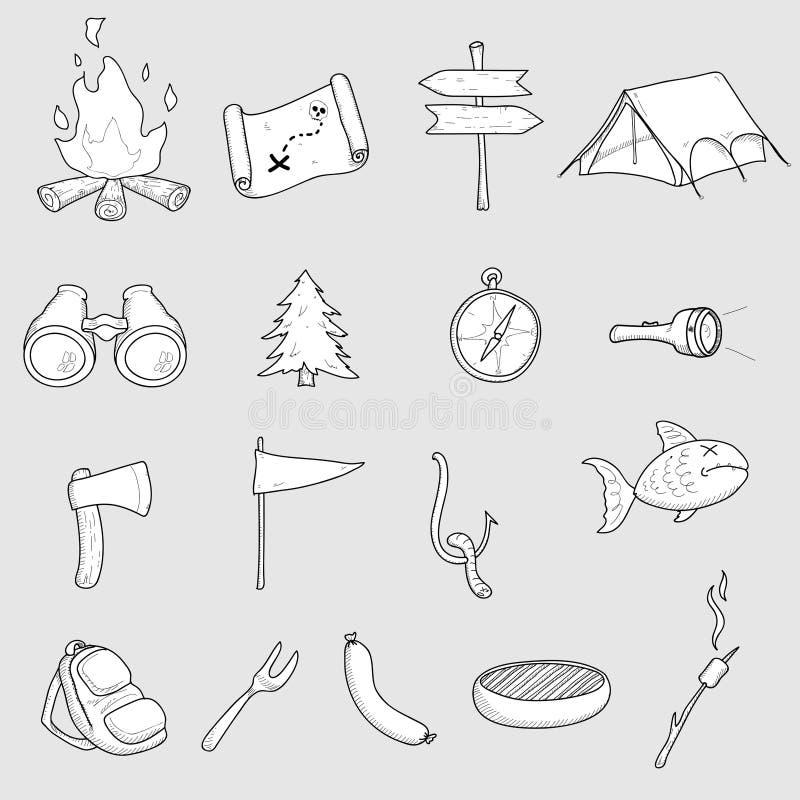 Het kamperen Krabbels stock illustratie