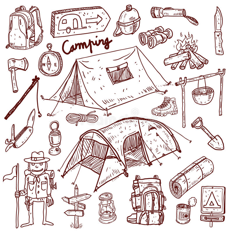 Het kamperen - krabbelsinzameling stock illustratie