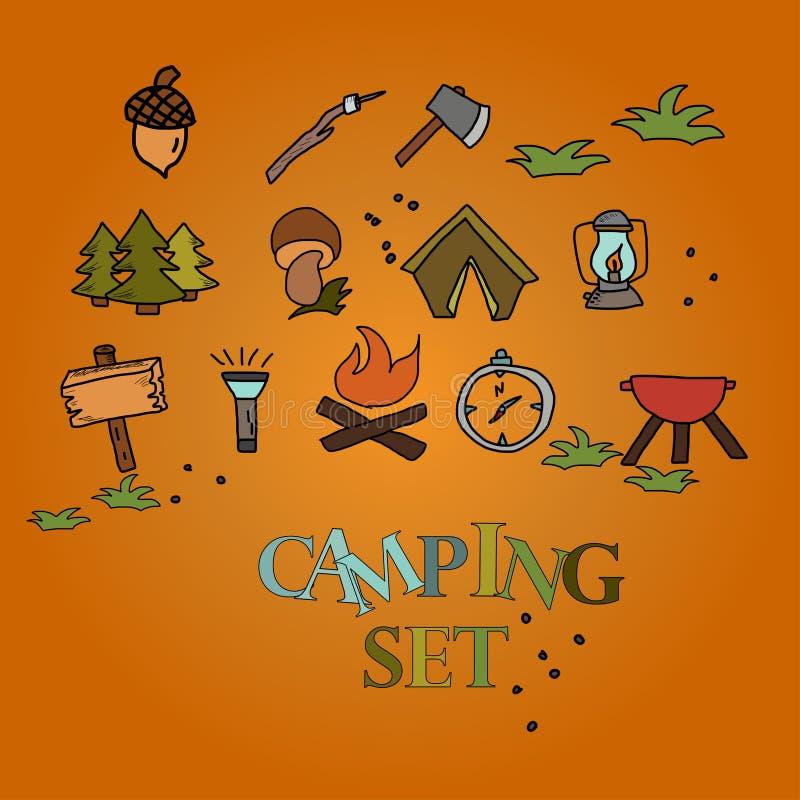 Het kamperen - krabbelsinzameling campingpattern getrokken hand stock illustratie