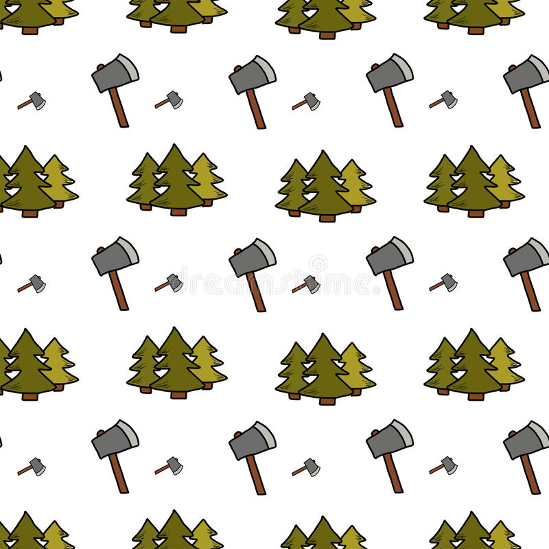 Het kamperen - krabbelsinzameling Hand getrokken het kamperen naadloos patroon vector illustratie