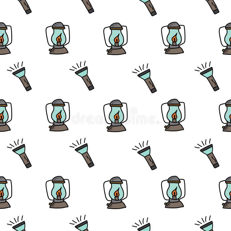 Het kamperen - krabbelsinzameling Hand getrokken het kamperen naadloos patroon royalty-vrije illustratie