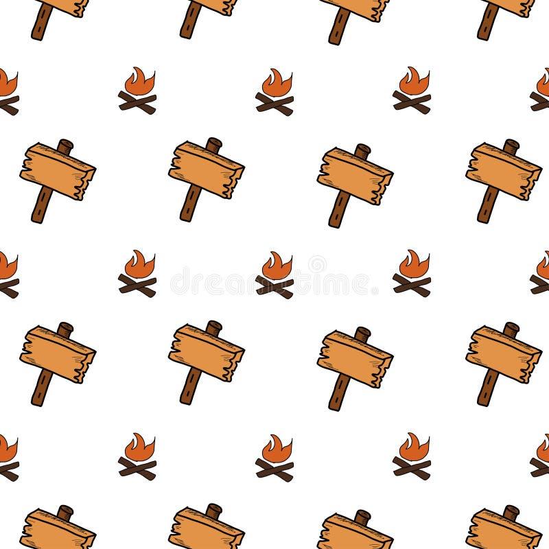 Het kamperen - krabbelsinzameling Hand getrokken het kamperen naadloos patroon stock illustratie