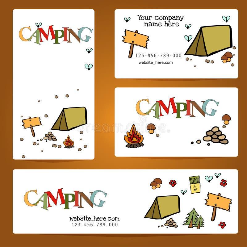 Het kamperen - krabbelsinzameling Vectordiebannermalplaatjes met krabbels het kamperen thema worden geplaatst stock illustratie