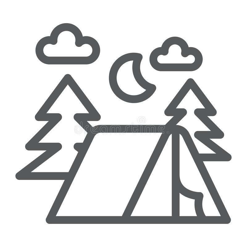 Het kamperen lijn pictogram, aard en wandeling, kampteken, vectorafbeeldingen, een lineair patroon op een witte achtergrond vector illustratie