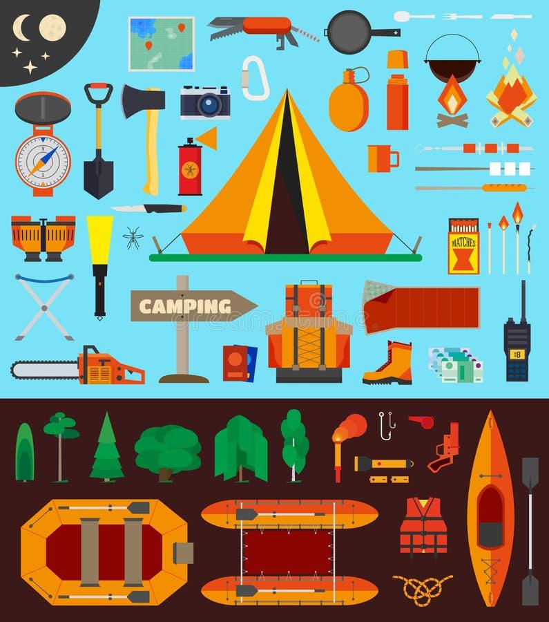 Het kamperen materiaal en hulpmiddelen stock illustratie