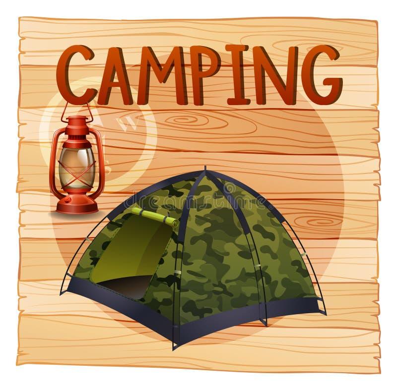 Het kamperen materiaal met lantaarn en tent stock illustratie