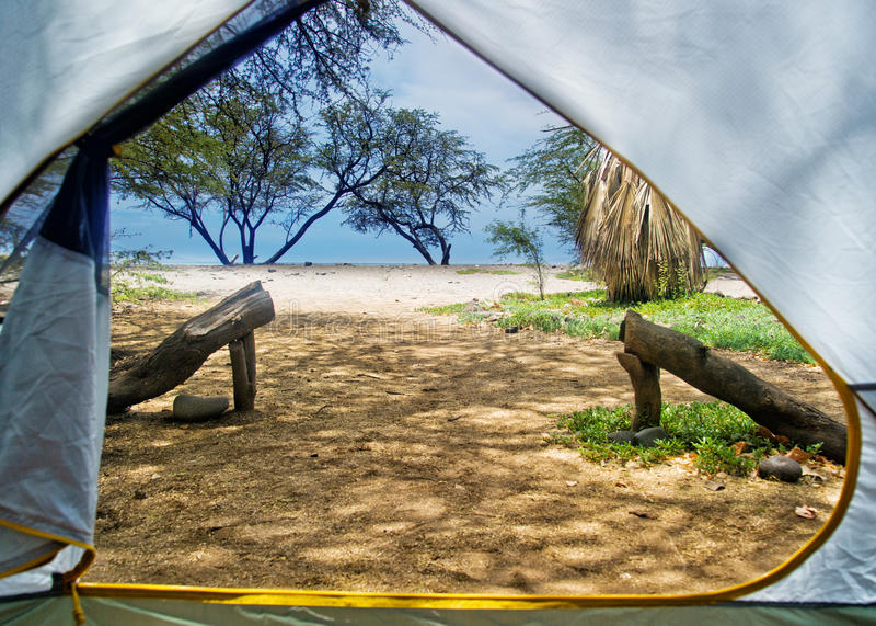 Het kamperen Maui, Hawaï stock fotografie