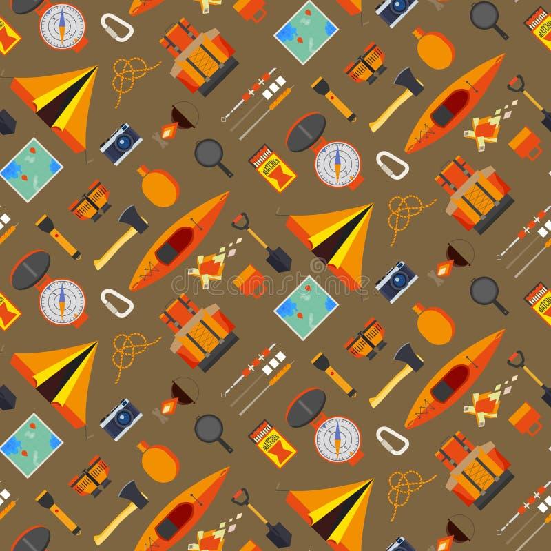 Het kamperen naadloos patroon vector illustratie