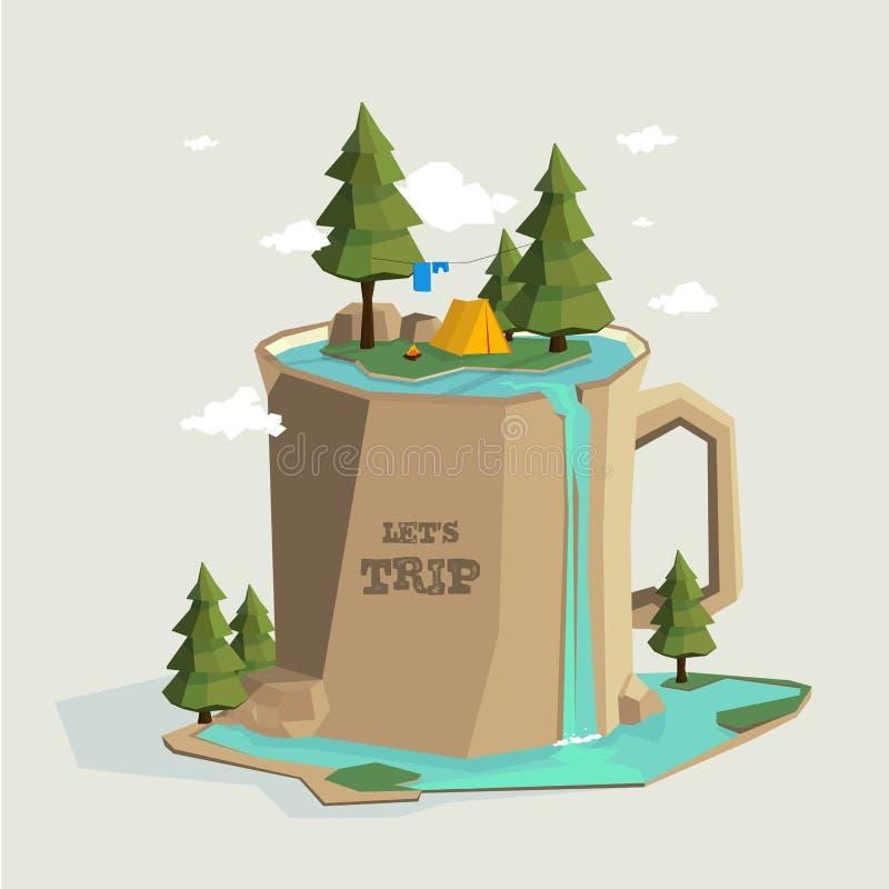 Het kamperen op de berg in de vorm van een grote mok met een vijver en een waterval royalty-vrije illustratie