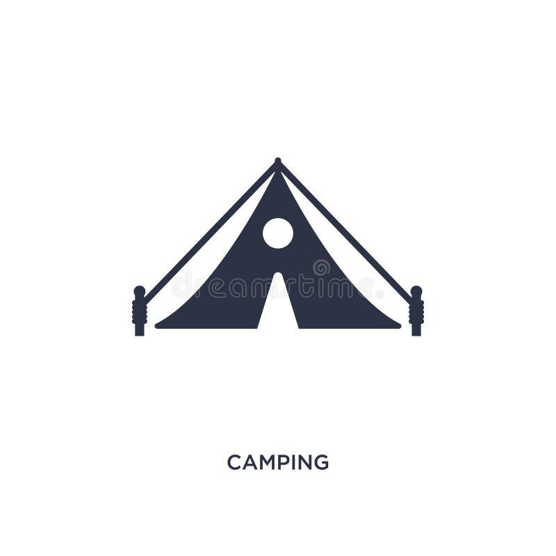 het kamperen pictogram op witte achtergrond Eenvoudige elementenillustratie van vrije tijdconcept vector illustratie
