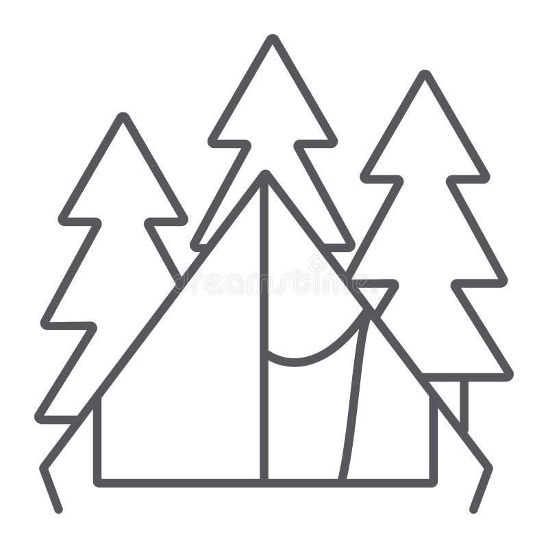 Het kamperen het pictogram van de tent dun lijn, reis en toerisme, schuilplaatsteken, vectorafbeeldingen, een lineair patroon op  vector illustratie