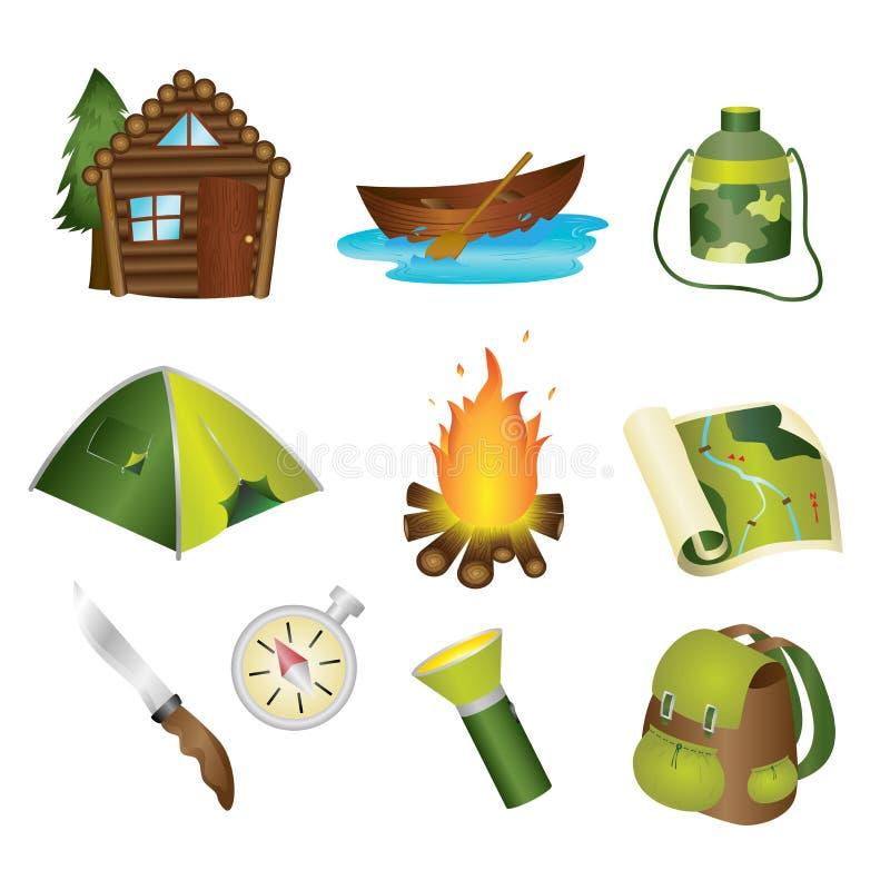Het kamperen pictogrammen vector illustratie