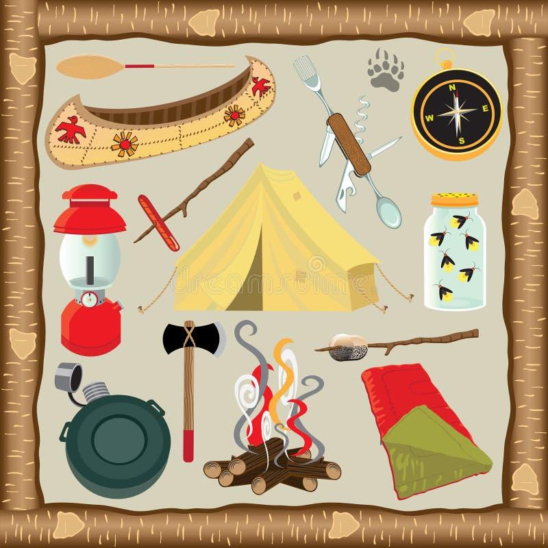 Het kamperen Pictogrammen en Elementen stock illustratie