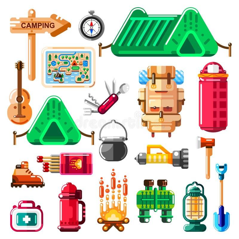 Het kamperen pictogrammen en geïsoleerde geplaatste ontwerpelementen Vectorkampmateriaal, materiaal en hulpmiddelen stock illustratie