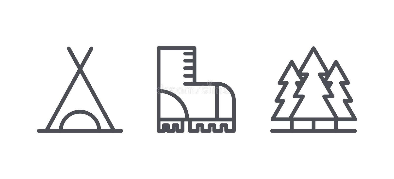 Het kamperen pictogrammen, openluchtrecreatieactiviteit en de symbolen van het wandelingsoverzicht, lineaire pictogrammen vectori stock illustratie