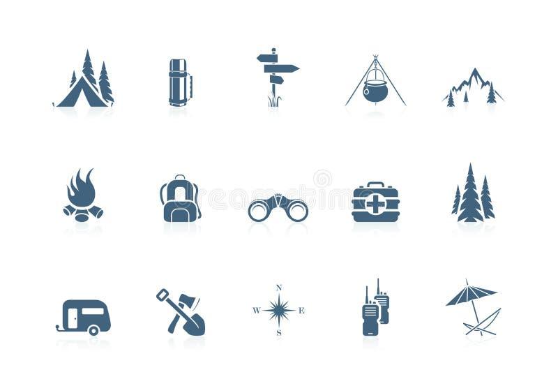 Het kamperen pictogrammen | piccolofluit reeks royalty-vrije illustratie