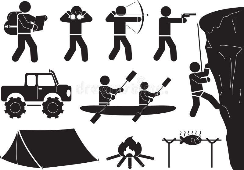 Het kamperen pictogramreeks stock illustratie