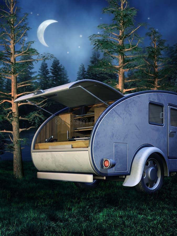 Het kamperen plaats bij nacht stock illustratie