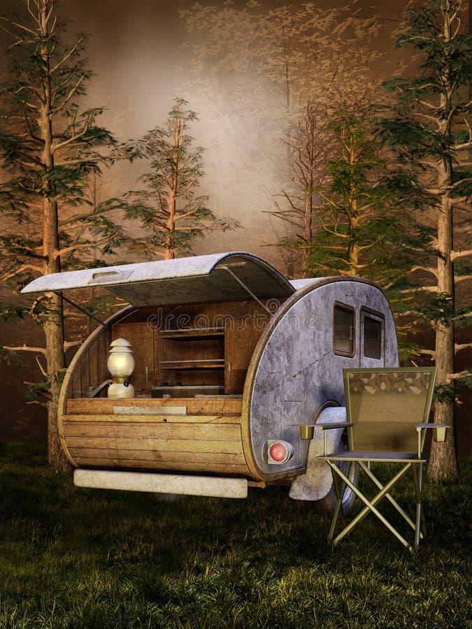 Het kamperen plaats in een donker bos stock illustratie