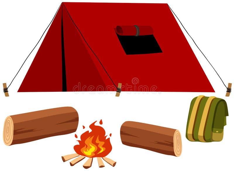 Het kamperen reeks met tent en brand vector illustratie