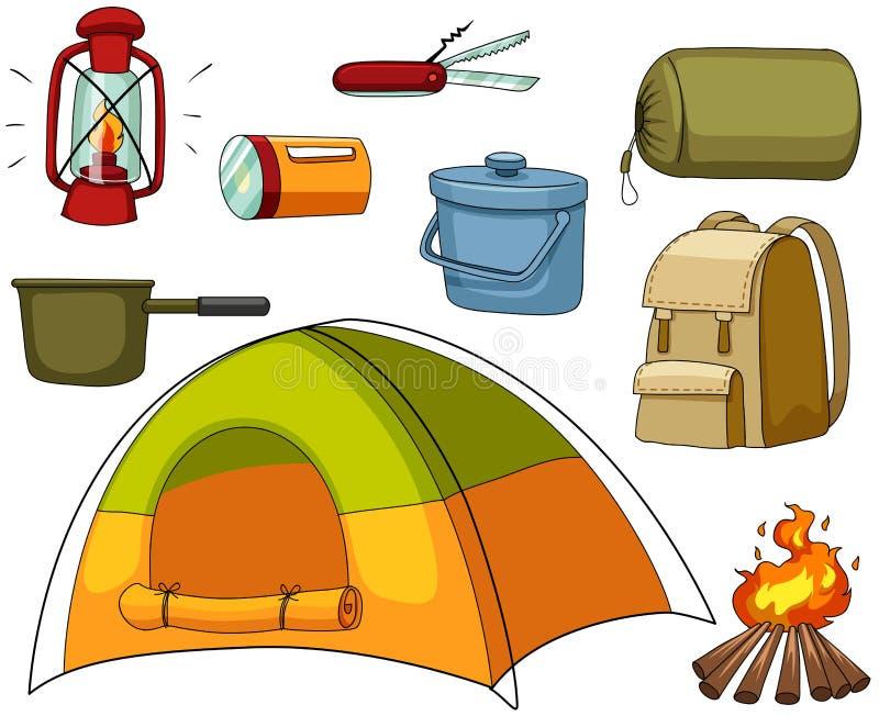 Het kamperen reeks met tent en materiaal royalty-vrije illustratie