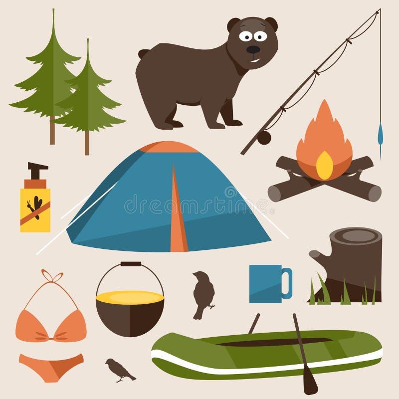 Het kamperen reeks Vlakke vectorillustratie vector illustratie