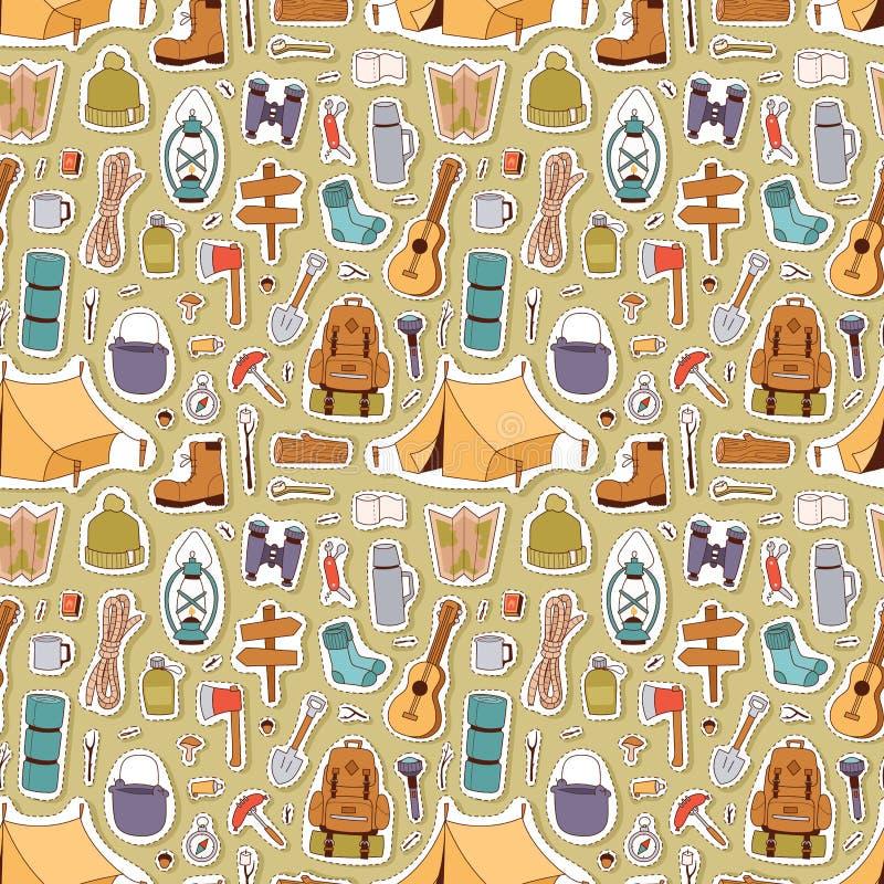 Het kamperen stickers ter beschikking getrokken stijl vector naadloos patroon royalty-vrije illustratie