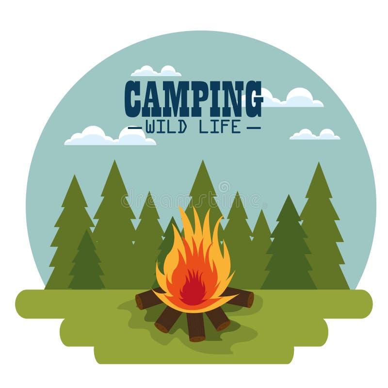 Het kamperen streek met kampvuur stock illustratie