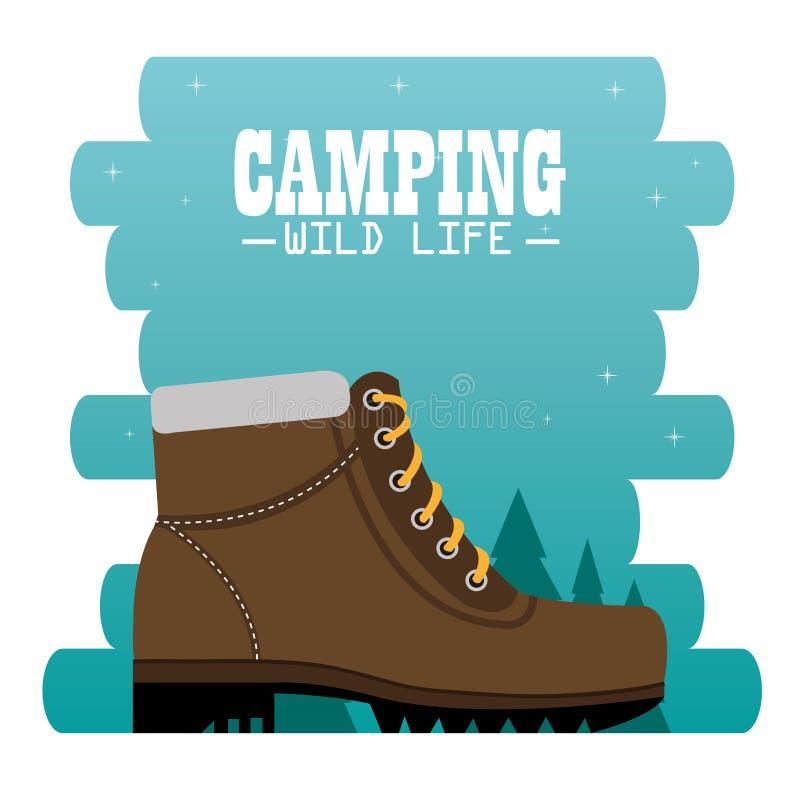 Het kamperen streek met laarzen royalty-vrije illustratie