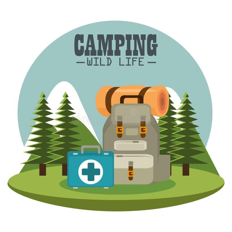 Het kamperen streek met materiaal stock illustratie